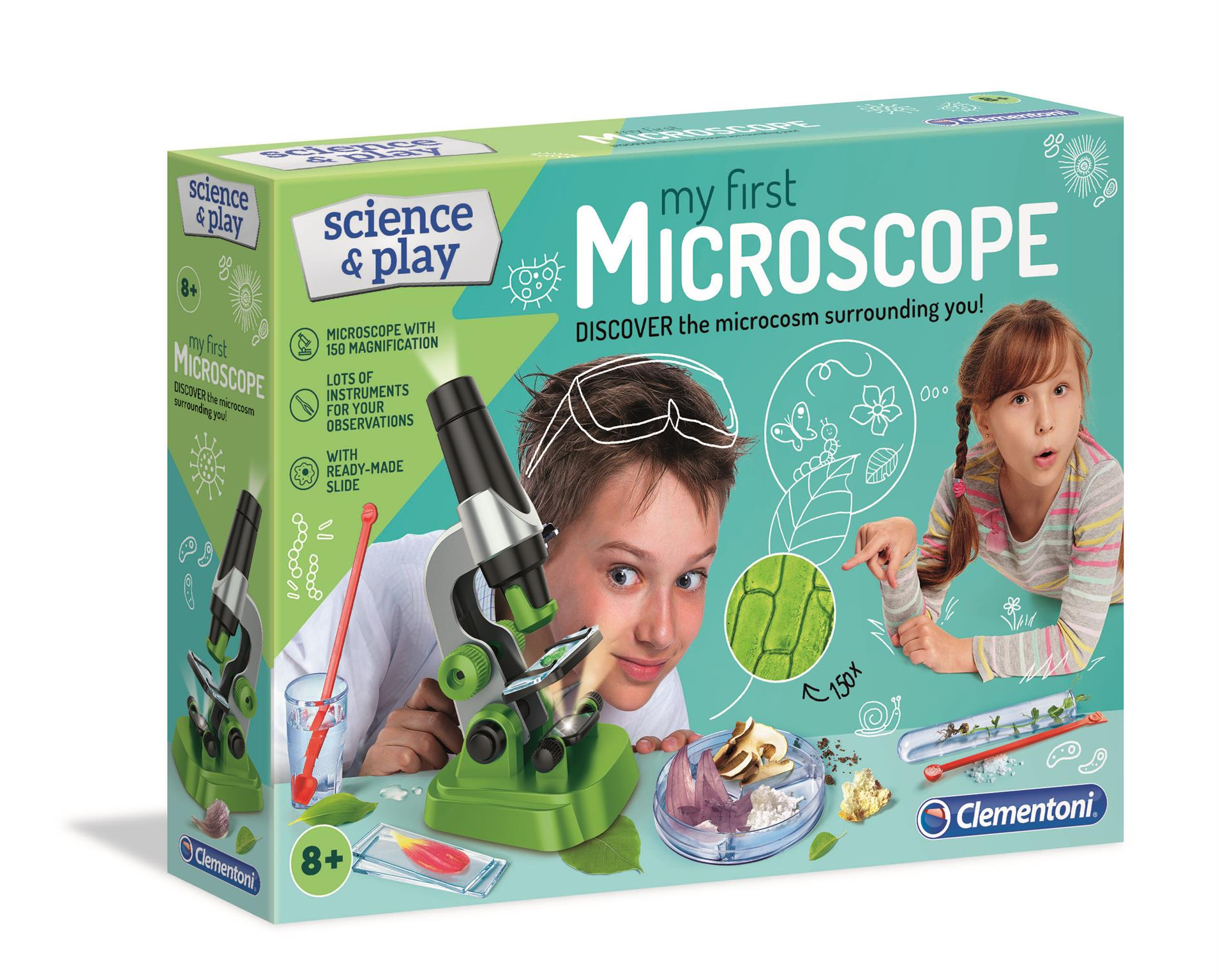 Clementoni 61724 Clementoni-61724-Science and Play-Microscope-Made in Italy-Science Toy-Laboratory and esperiment kit for Kids from 8 Years Old and Older English