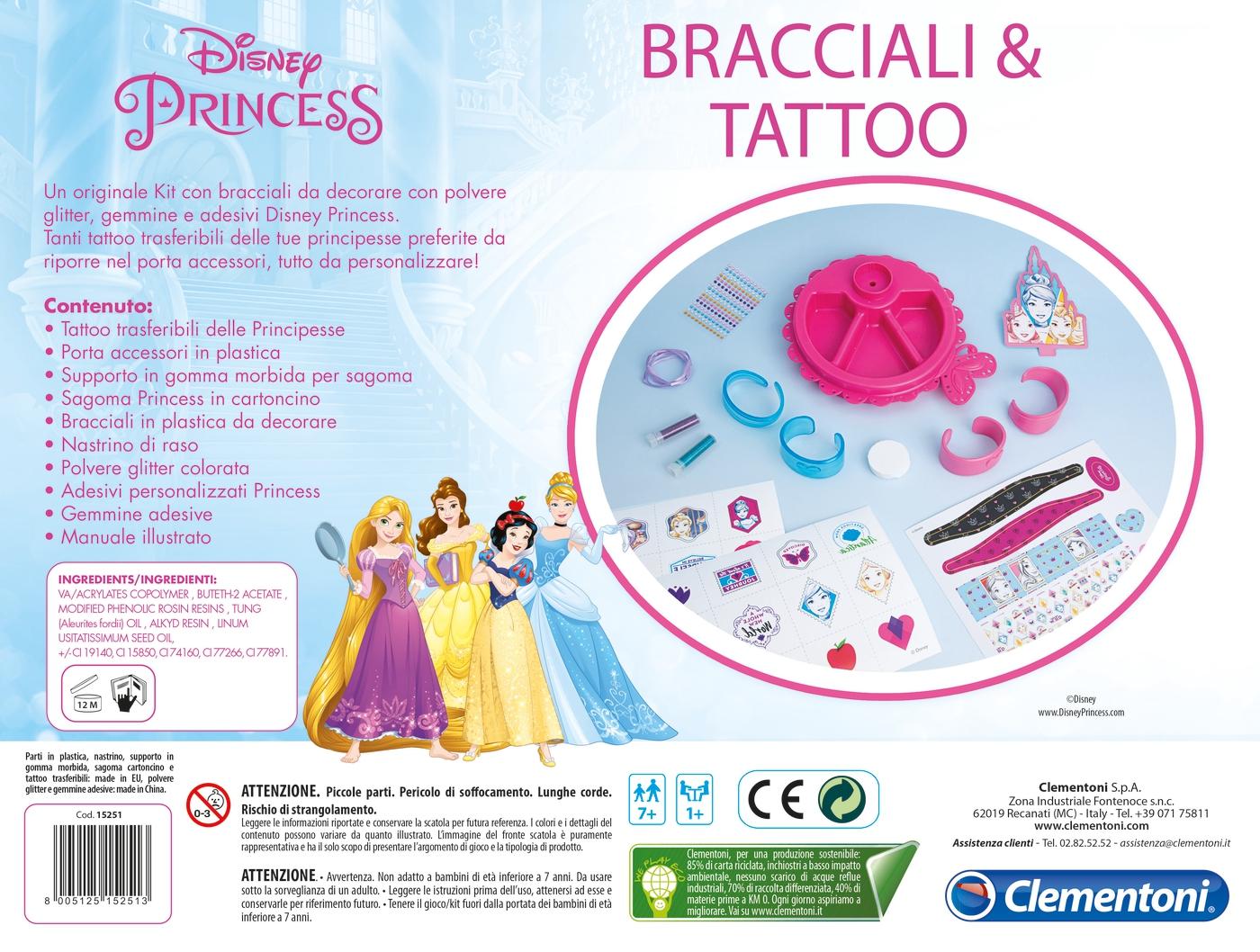 Anni 70 Colori princess - bracelets & tattoos - clementoni
